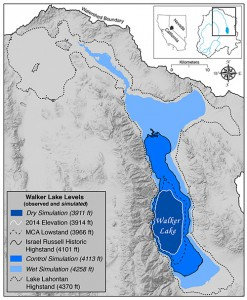 Courtesy of Douglas P. Boyle Simulations of Walker Lake's levels mapped against the 2014 elevation, its most recent highstand in the 1800s and the Medieval lowstand. The control simulation signifies where the lake level would be without agricultural activities consuming so much water upstream.Click on image to enlarge.