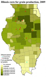 Tyler Moss/MEDILL  Illinois corn production in 2009, including locations of ethanol plants across the state.