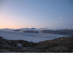Courtesy of Meredith Nettles The giant ice field dwarfs a research camp at Kangerdlugssuaq Glacier.