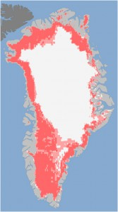 "Credit: Nicolo E. DiGirolamo, SSAI/NASA GSFC, and Jesse Allen, NASA Earth Observatory NASA calls it ""unprecedented Greenland ice sheet surface melt."" According to NASA: ""Extent of surface melt over Greenland's ice sheet on July 8 [top] and July 12 [bottom]. Measurements from three satellites showed that on July 8, about 40 percent of the ice sheet had undergone thawing at or near the surface. In just a few days, the melting had dramatically accelerated and an estimated 97 percent of the ice sheet surface had thawed by July 12. In the image, the areas classified as ""probable melt"" (light pink) correspond to those sites where at least one satellite detected surface melting. The areas classified as ""melt"" (dark pink) correspond to sites where two or three satellites detected surface melting."""