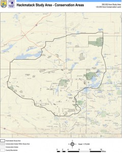 Courtesy of U.S. Fish and Wildlife Service. Map of the 350,000 acre Hackmatack study area.