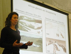 Jennifer Draper/MEDILL Meredith Kelly shows the reach of glaciers into Africa, new research she presented at the Comer Abrupt Climate Change Conference in Wisconsin.
