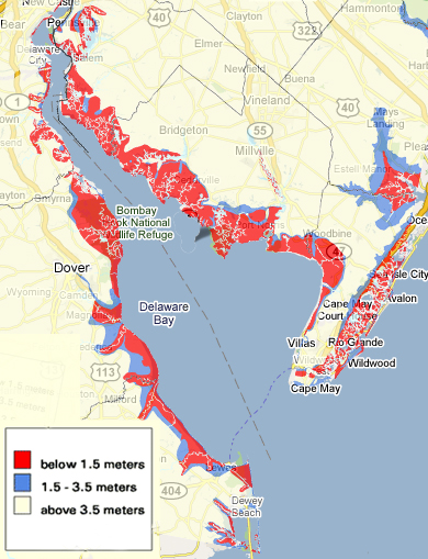 Maya Linson/MEDILL  Click above to see areas of the Delaware Bay that the EPA in 2001 determined would flood at various levels of sea-level rise.  Key: 1.5 meters = 59 inches