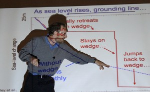 Rachel Gross/MEDILL Rachel Gross/MEDILL At the conference, Pennsylvania State geoscientist Richard Alley demonstrates the effect of glacial melt on sea level.