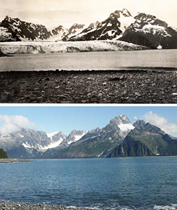 Courtesy of U.S. Geological Survey. Top: Northwestern glacier in a photograph taken by Ulysses S. Grant in 1909. Bottom: the same view in 2005, photo by Bruce F. Molnia.      Archives 1 grant northwestern glacier