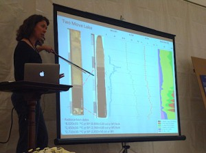 Gretchen Roecker/MEDILL Meredith Kelly, of Dartmouth College, presents her research on lakebeds near the west Greenland ice caps. Kelly uses radiocarbon dating techniques to find out how the ice caps – and the ice sheet – have grown and shrunk in response to changing conditions.