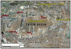 Courtesy of Aaron Putnam/Univ.Maine Map of Tarim Basin.