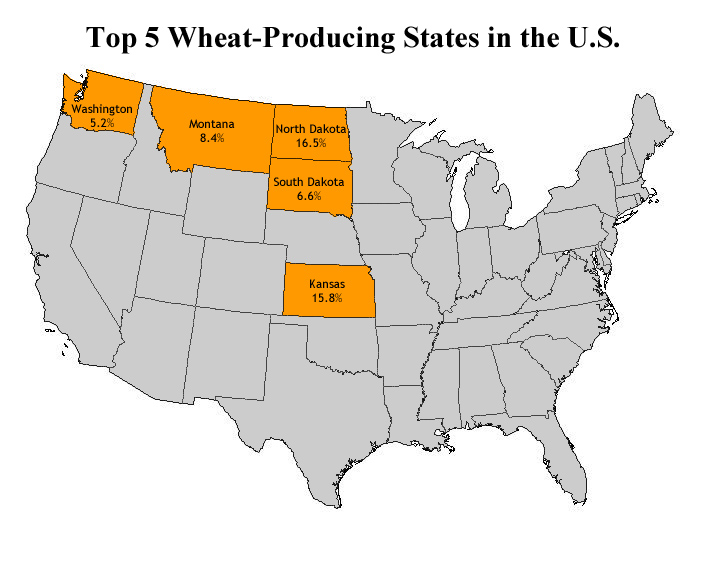 CLIMATE CHANGE LINKED TO GLOBAL RISE IN FOOD PRICES  Climate Change - Us wheat production map