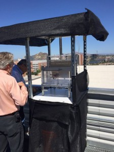 The first 24-hour rooftop carbon dioxide capture unit at the University of Arizona. Photograph courtesy of Klaus Lackner. (Neil Murthy/Medill)