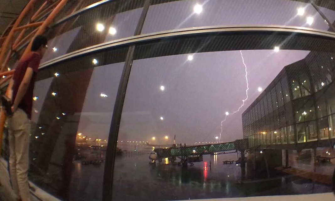 A thunderstorm delayed the group's red-eye flight from Beijing to Ulaanbaatar (Kevin Stark/Medill).