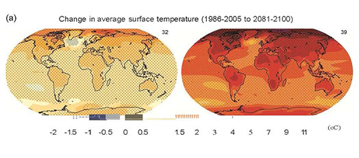 IPCC 2013 summary report The IPCC graphic shows a warming world with average termperature changes of about 1 degree centigrade forthe dark beige areas of the map at right to 5 degrees or more of  warming by 2100 for the areas of the earth shown in light red to darker reds.