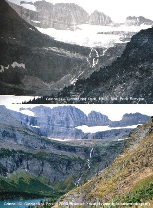 Courtesy of the National Park Service Global warming has melted much of Grinnell Glacier since 1911 at Glacier National Park in Montana. The white area ridged by mountains is the glacier, almost entirely melted in the current picture.