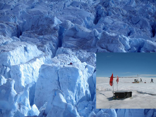Courtesy of M. Nettles  Inset photo shows a GPS station installed on Helheim Glacier in east Greenland. The red flags help make the station easier to find. A typical station will move several hundred meters between field visits. Researchers install an automatic weather station on the glacier to measure meteorological conditions during the experiment. That little speck in the vista of the heavily crevassed glacier shows scientists retrieving GPS equipment.