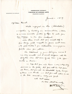 """Courtesy of Northwestern University archives. A letter from William Albert Locy — the biologist for whom Northwestern's current earth and planetary sciences building is named —to Ulysses S. Grant wishes the geologist """"bon voyage."""""""