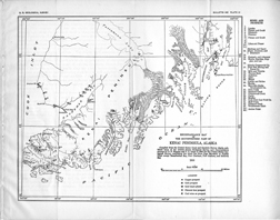Courtesy of Northwestern University Archives. A 1910 U.S. Geological Survey map of the Kenai peninsula, compiled from reports including Grant's 1909 expedition.