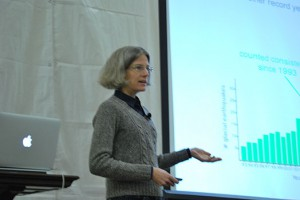 Meredith Nettles presents research findings at Abrupt Climate Change Conference in Wisconsin this month. Source/credit:    Anna Bisaro/MEDILL