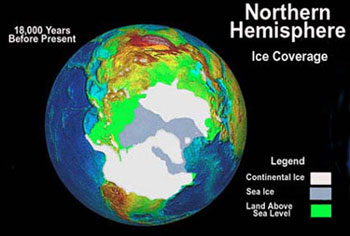 NOAA The ice sheets extended well south of the Great Lakes at their maximum during the grip of the ice age 18,000 years ago