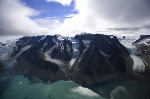 "Photo by Gary Comer The Julianehab Ice Cap in southern Greenland where silt, called ""glacial flour,"" gives the water the greenish color"