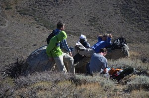 Courtesy of Doug Boyle Scientists study glacial moraines of the now dry area of Convict Lake in the Great Basin to find clues to climate change.