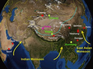 Courtesy of Larry Edwards Geochemist Larry Edwards' map shows caves in China where he finds clues about ancient monsoon patterns and climate change.