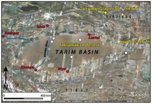 Courtesy of Aaron Putnam/Univ.Maine Map of Tarim Basin.