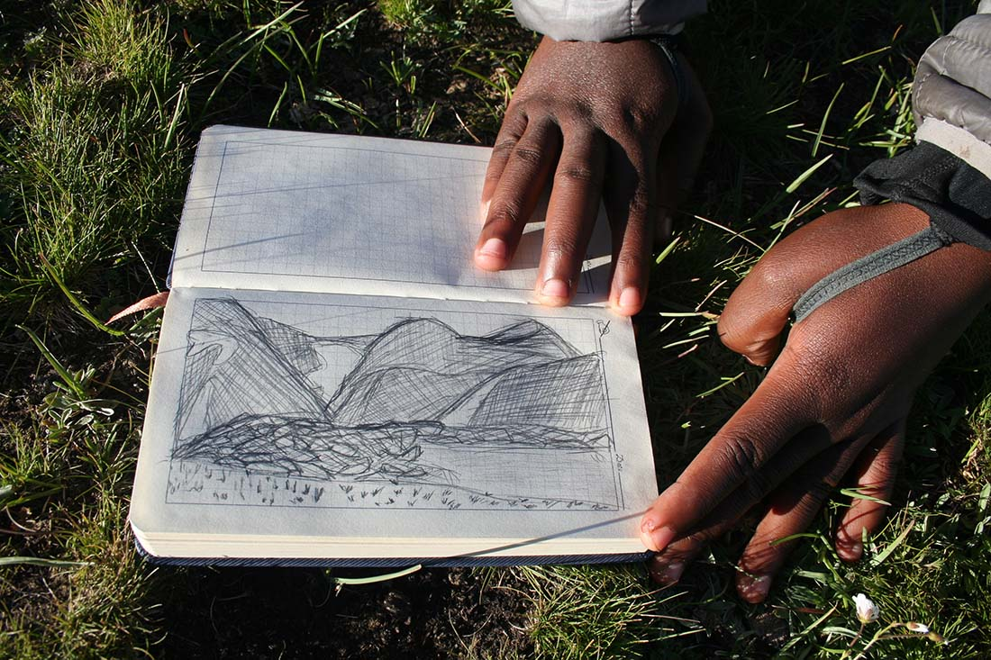 Destiny Washington has been drawing glacial landscapes as part of her field work.