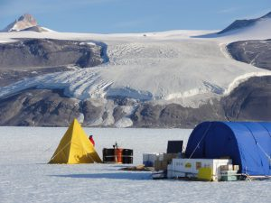 Shackleton's team of climate scientists set up camp in Antarctica to gather clues from a past period of warming, the Last Interglacial period. (Photo by Bernhard Bereiter.)