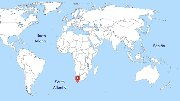 Location map of Integrated Ocean Drilling Program Site U1479, approximately 85 nautical miles southwest of Cape Town, South Africa
